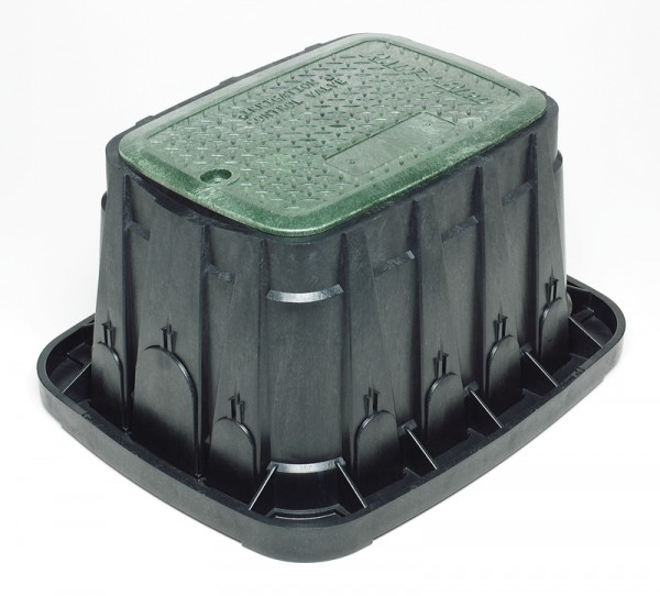 HDPE VB Standardverriegelung. Schwarzes Gehäuse und grüner Deckel mit Sechskantsicherungsschraube. L
