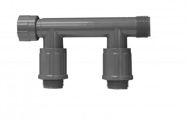 PVC-Verteiler mit 2 Ausgängen
