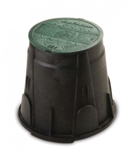 """7"""" VB rund. Schwarzes Gehäuse und grüner Deckel. 2 vorgeformte seitl. Öffnungen. ø unten 22,9 cm; ø"""