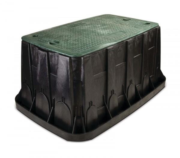 VB Maxi Jumbo, schwarzes Gehäuse u. grüner Deckel mit 2 Sechskantbolzen18 vorgestanzte Öffnungen