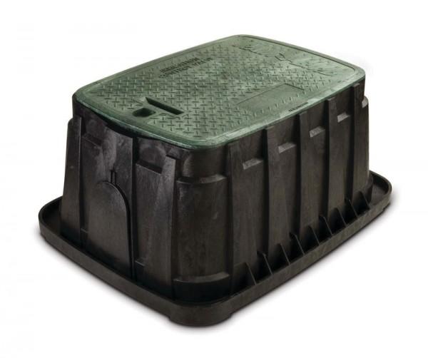 VB Jumbo Verriegelung. Schwarzes Gehäuse und grüner Deckel mit Sechskantsicherungsschraube. 2 große