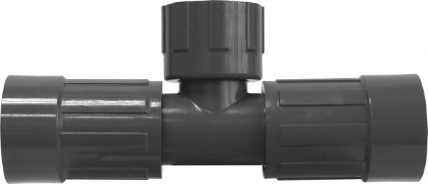 """Doppel-T-Stück PVC 1"""" IG, 2 gegenüberliegende Ausgänge: 1"""" IG x 1"""" IG"""