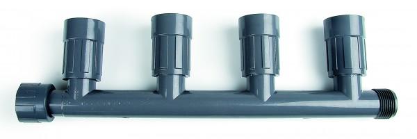 """PVC-Verteiler mit 4 Ausgängen 1"""" IG x 1"""" AG, 4 Ausgänge: 1"""" IG"""
