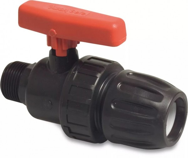 Kugelhahn mit 1x AG und 1 x PE-Rohr-Anschluss