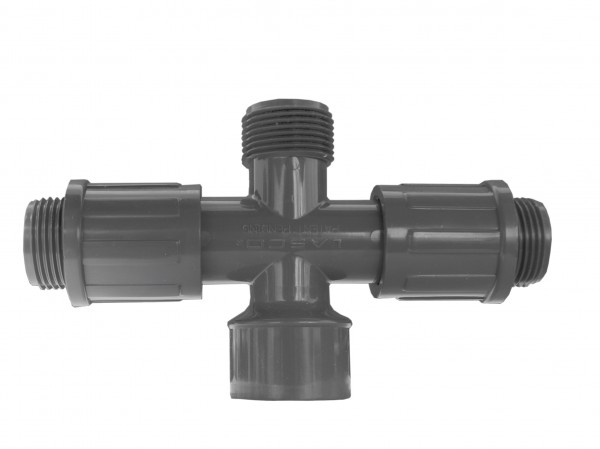 "PVC-Kreuzstück 1"" IG x 1"" AG, 2 gegenüberliegende Ausgänge: 1"" AG"