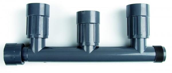 """PVC-Verteiler mit 3 Ausgängen 1"""" IG x 1"""" AG, 3 Ausgänge: 1"""" IG"""