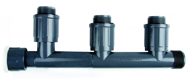 PVC-Verteiler mit 3 Ausgängen