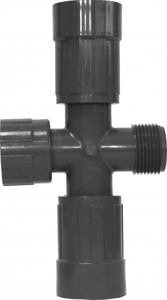 "PVC-Kreuzstück 1"" IG x 1"" AG, 2 gegenüberliegende Ausgänge: 1"" IG"