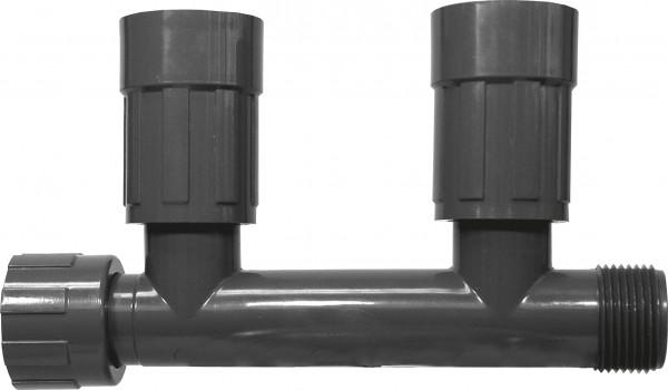"""PVC-Verteiler mit 2 Ausgängen 1"""" IG x 1"""" AG, 2 Ausgänge: 1"""" IG"""